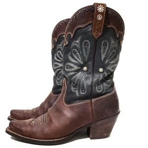 Ariat Blue & Brown Daisy Cowboy Boots Size 7.5